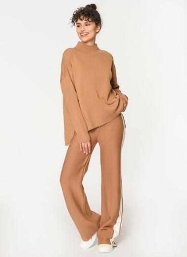 Loves You Yanları Şeritli Triko Pantolon Camel